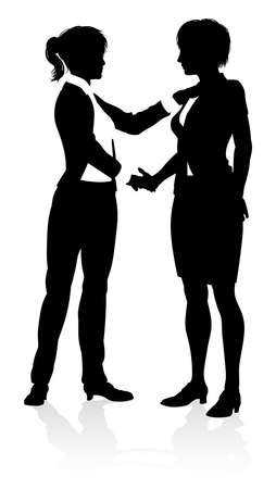 Business people or office workers shaking hands silhouette
