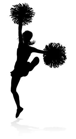 Silhouette cheerleader icon. Illustration