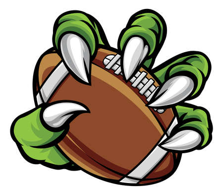 Monster animal claw holding American football ball.