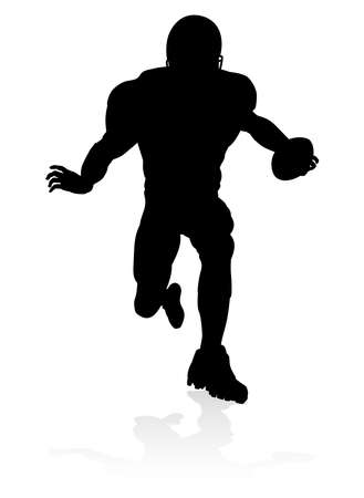 American football player silhouette. Illustration