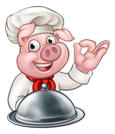 Cartoon Chef Pig Character Mascot Stock Vector - 98864155
