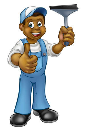 Black Window Cleaner With Squeegee Illustration