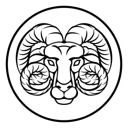 Astrology Horoscope Zodiac Signs Circular Aries Ram Symbol Royalty