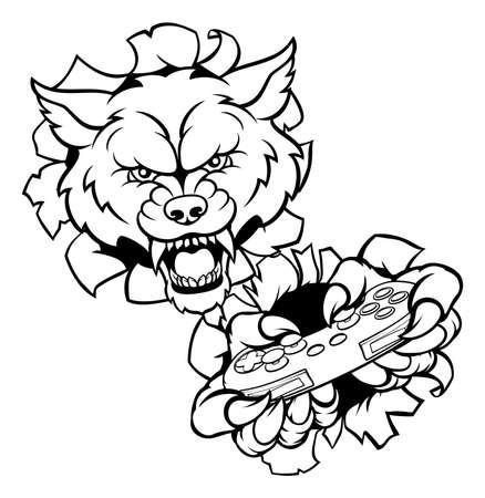 Wolf Player Esports Gamer Mascot