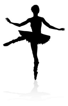 Bailarina de ballet, silueta Foto de archivo - 99864887
