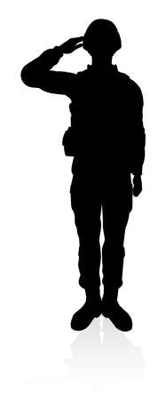 Silhouettes of a military armed forces army soldier
