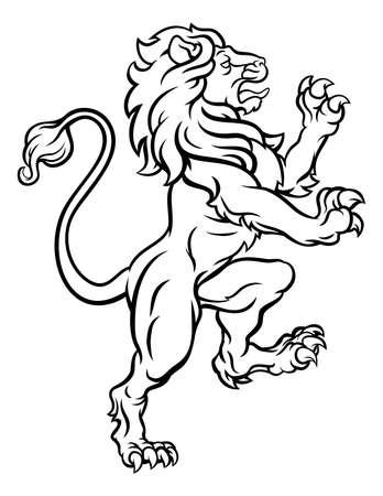 Lion Standing Rampant Heraldic Crest Illustration