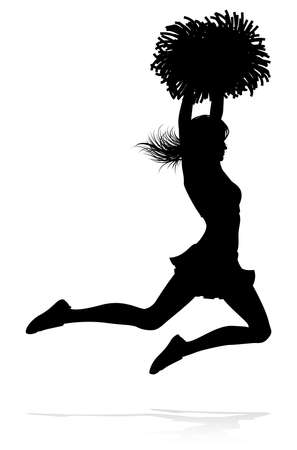 Detailed silhouette cheerleader with pompoms