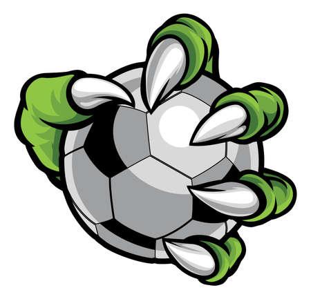 Monster animal claw holding Soccer Football Ball Foto de archivo