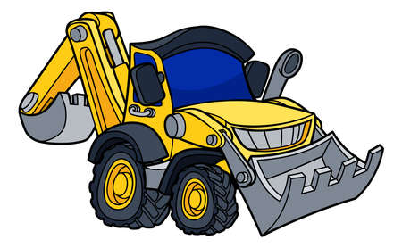 Cartoon Bulldozer Digger Vehicle Vettoriali