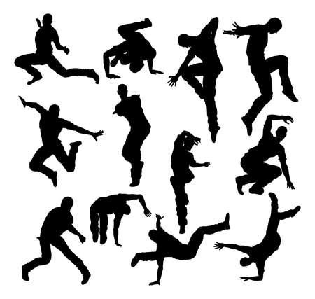 Street Dance Dancer Silhouettes Vettoriali