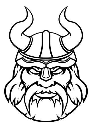 Mascotte de personnage de sport guerrier Viking