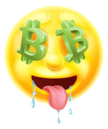 Bitcoin Sign Eyes Emoticon Emoji Stock Photo