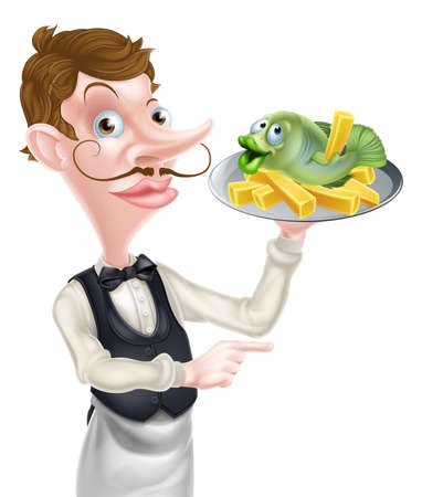 Cartoon Waiter Butler Holding Fish and Chips