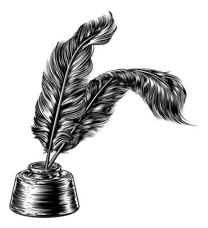 Quill Feather Pens and Inkwell Illustration