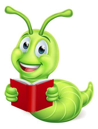 Bookworm Caterpillar Worm Reading Illustration