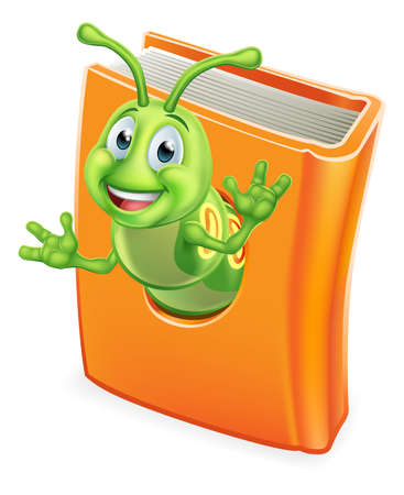 Bookworm Caterpillar Worm in Book Illustration