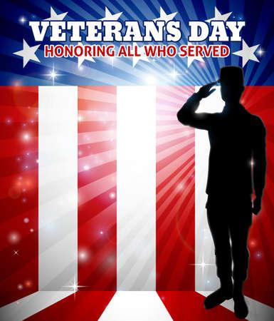 Soldado saludando americano del día de los veteranos