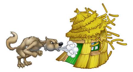 Drei kleine Schweine großer böser Wolf, der Strohhaus bläst Vektorgrafik