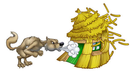 Drie Biggetjes Big Boze Wolf Waait Stro Huis Vector Illustratie