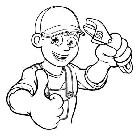 Mechanic or Plumber Handyman With Wrench Cartoon