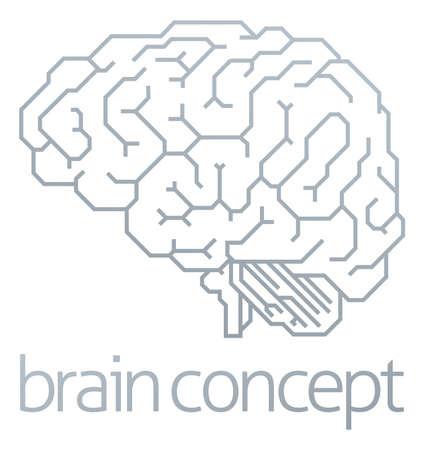 Brain Profile Concept Illustration