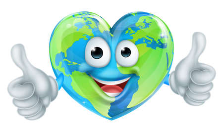 Cartoon World Earth Day Thumbs Up Heart Globe Character