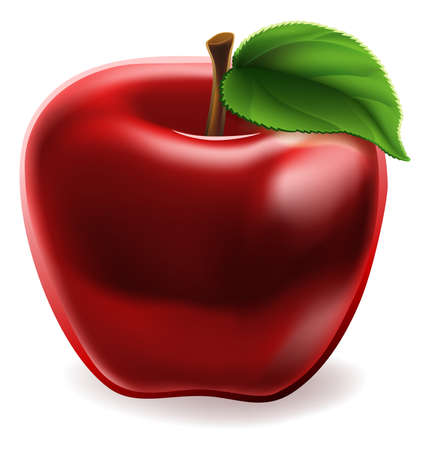 Cartoon Red Apple Icon