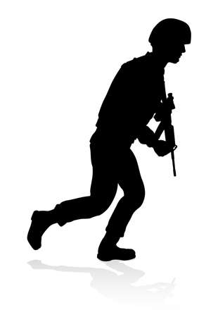 Silhouette military armed forces army soldier