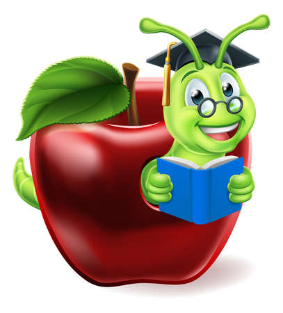 A caterpillar bookworm worm cute cartoon character education mascot coming out of an apple reading a book wearing graduation hat and glasses