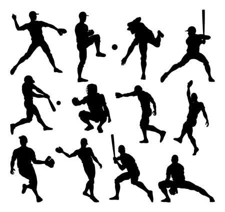 Baseball Player Silhouettes Stock Photo