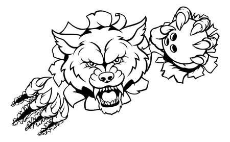 Wolf Bowling Mascot Breaking Background Stock Photo
