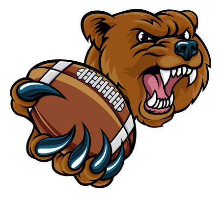 Bear American Holding Football Ball
