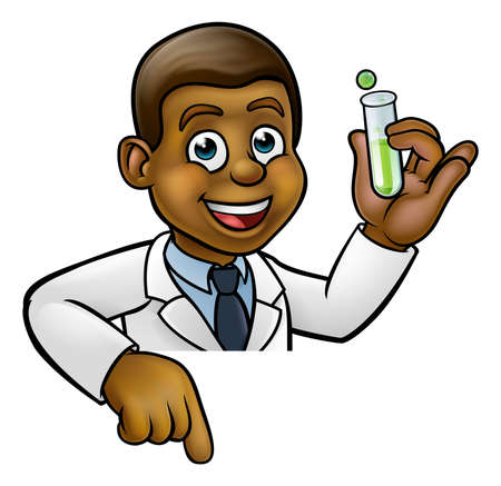 Cartoon Scientist Holding Test Tube Pointing Sign Vettoriali