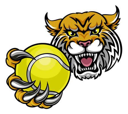 Wildcat Holding Tennisl Ball Mascot 일러스트