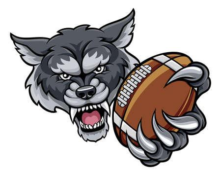 Wolf American Football Mascot Illustration
