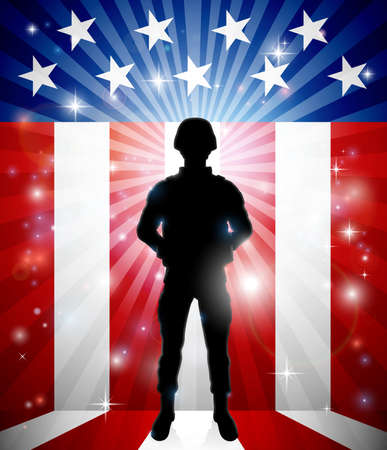 Patriotic Soldier American Flag Background