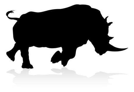 Rhino Animal Silhouette Illustration