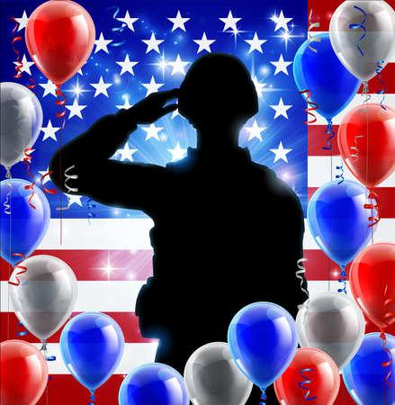 Saludando Soldado Bandera Estadounidense Globo Gráfico