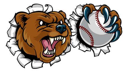 Bear Holding Baseball Ball Breaking Background Illustration