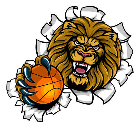 Lion Holding Basketball Ball Breaking Background Stock Illustratie