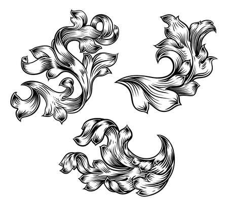 Floral Filigree Pattern Scroll Heraldry Design Set Illusztráció