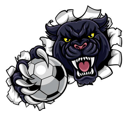 Black Panther Soccer Mascot Breaking Background Standard-Bild - 102439370