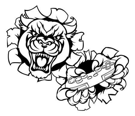 Black Panther Animal Gamer Mascot Illustration