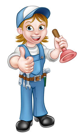 Cartoon Plumber Woman Holding Plunger