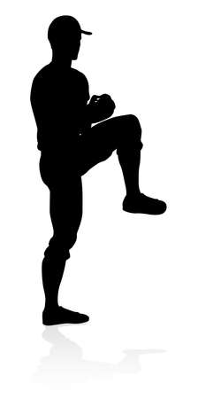 Baseball Player Silhouette Stock Illustratie