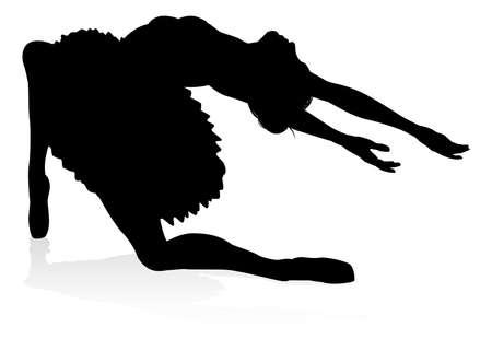Ballet Dancer Dancing Silhouette Stock Illustratie