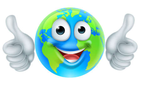 A world earth day thumbs up mascot globe cartoon character Çizim