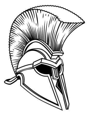 An ancient Greek Spartan, trojan or Roman gladiator warriors helmet