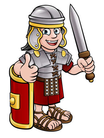 A Roman soldier cartoon character holding a sword and giving a thumbs up Vectores